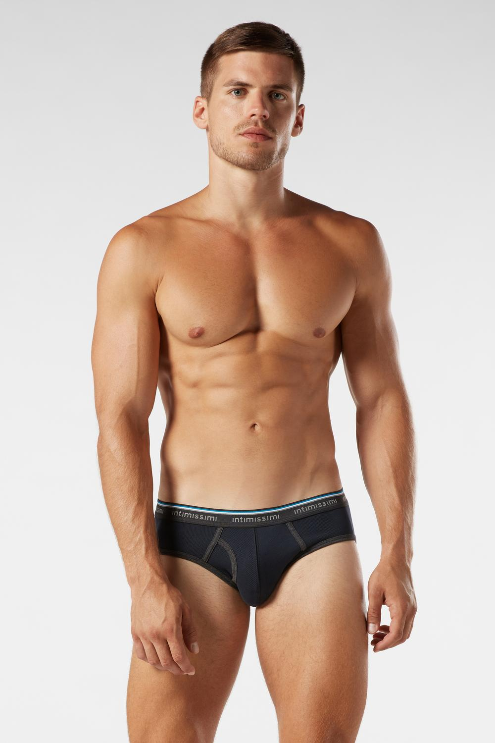 Ribbed Stretch-Cotton Briefs with Logo Detail