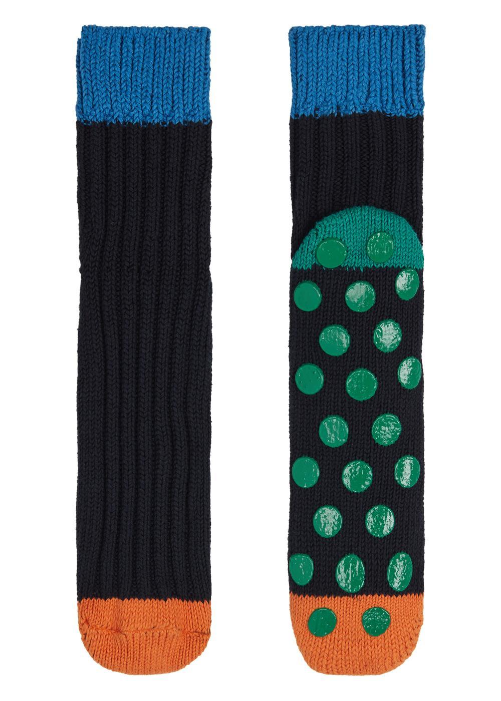 Kurze Antirutsch-Wollsocken mit Muster für Herren