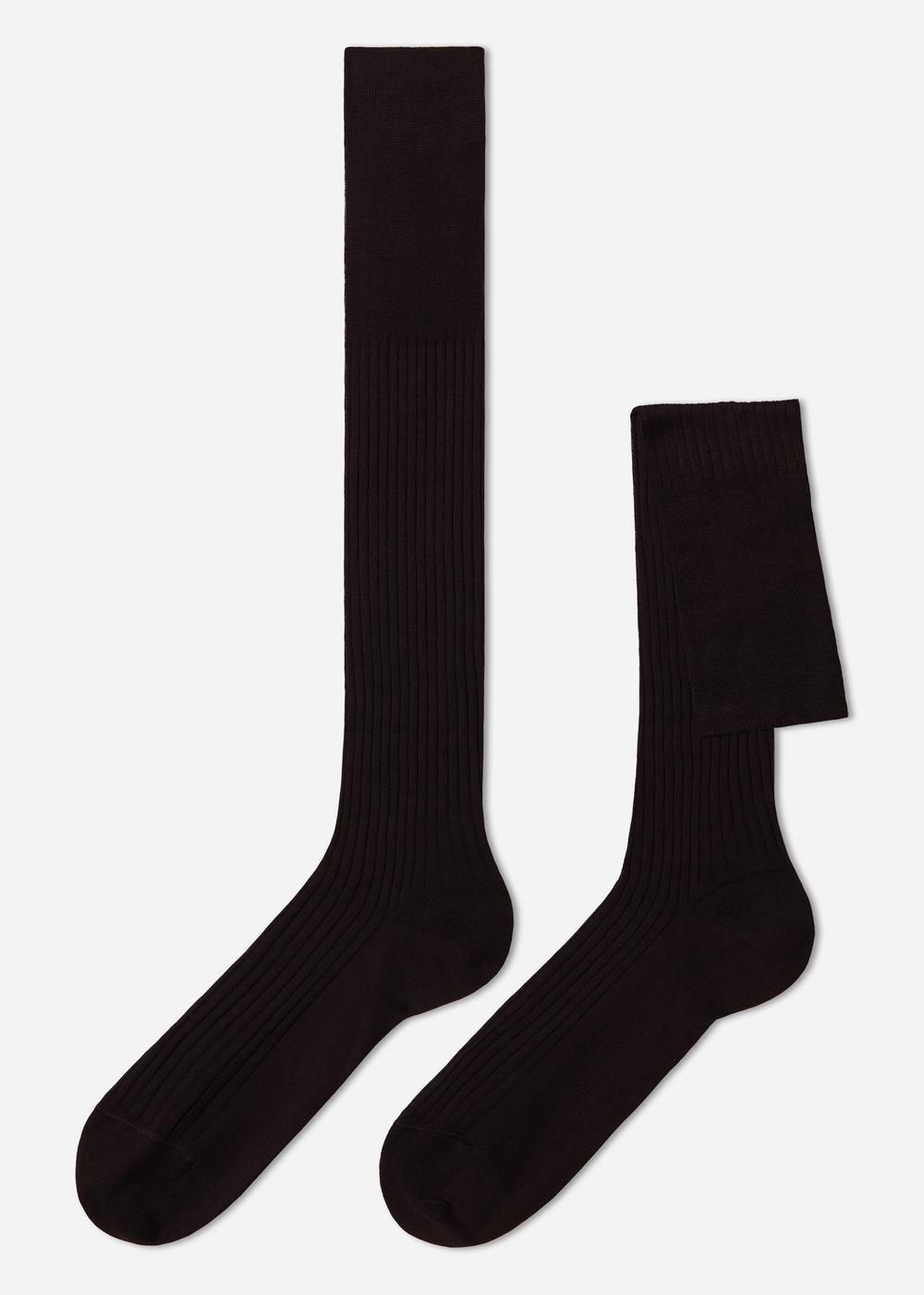 Calcetines largos Acanaladas en Hilo de Escocia