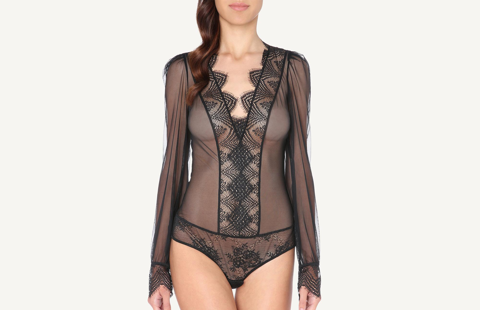 eac641be8cc1aa Sexy Soul Long-Sleeve Lace and Tulle Bodysuit - Intimissimi