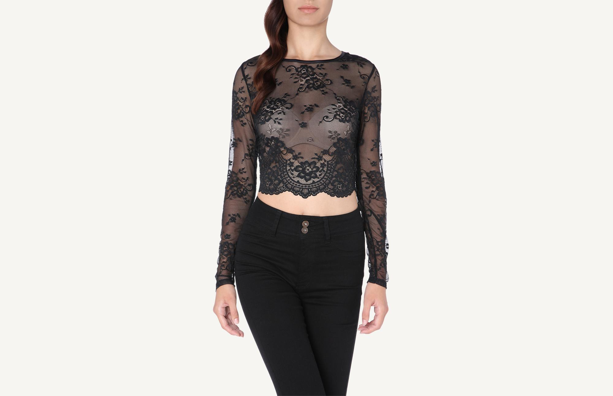 377c9fc182 Long-Sleeve Lace Crop Top - Intimissimi