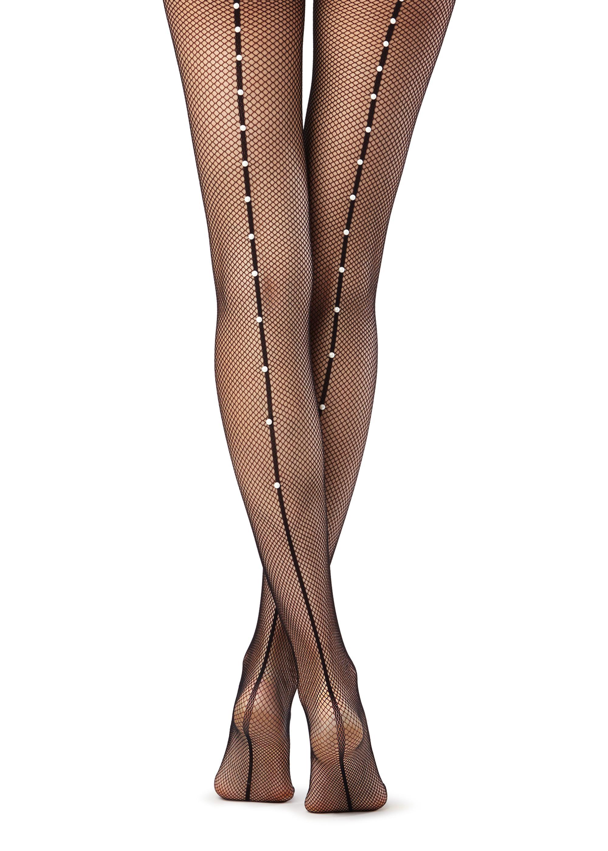 d9c1860df Fishnet Tights with Pearl-embellished Seam - Calzedonia