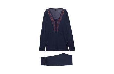 Купить Длинная кружевная пижама из микромодала - BLUE NIGHT - M - Intimissimi
