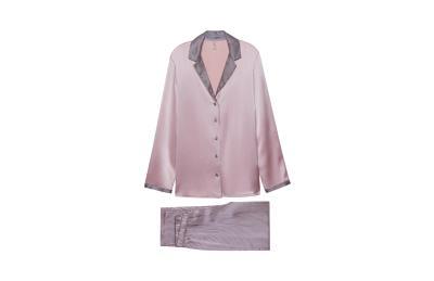 Купить Длинная пижама из шелкового атласа, принт полоска - PALE ROSE/RIGHE - M - Intimissimi
