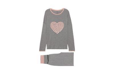 Купить Long Cotton Pyjamas with Heart Patch Detail - GRIGIO MEL. MEDIO - S - Intimissimi