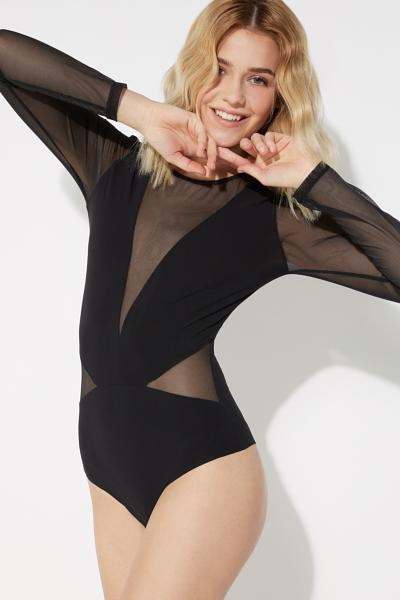 Long-Sleeved Long Body with Tulle and Microfibre