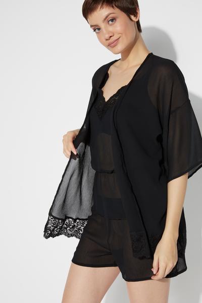 Langärmeliger Kimono aus Chiffon mit Spitzeneinsatz