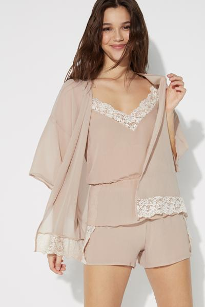 Long-Sleeved Chiffon Kimono with Lace Insert