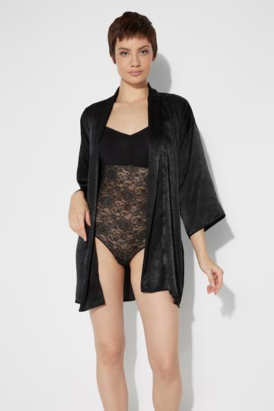 Long-Sleeved Soft Satin Kimono