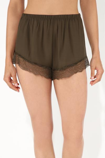 Lace-detailed Viscose Shorts
