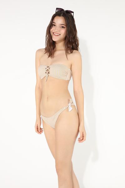 Glam Stripes Crossover Bandeau Bikini Top