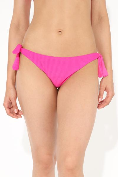 Jelly Pink Ribbed Brazilian Bikini Bottoms with Bows