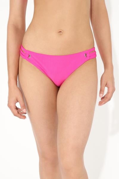 Jelly Pink Ribbed Bikini Bottoms with Side Rivet Detail