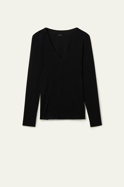 T-Shirt Manches Longues Col en V Coton Élastique