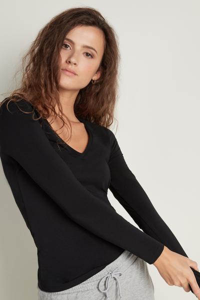 Langarm-Shirt mit V-Ausschnitt aus Stretch-Baumwolle