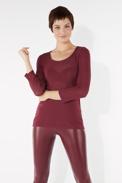 3/4 Length Sleeve Madonna-Neckline Knitted Viscose and Silk Top
