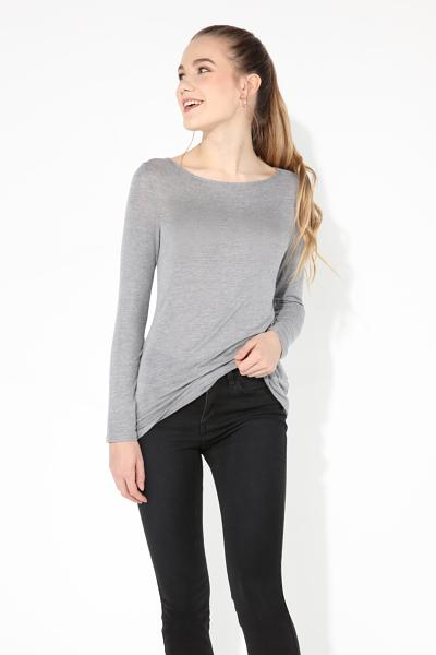 Viscose and Silk Long Sleeve Boat Neck Knit Top