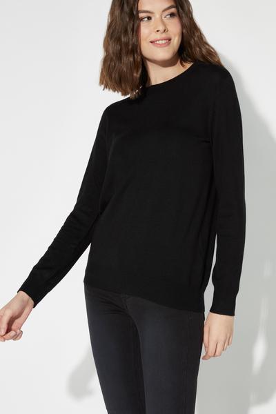 Langärmliger Basic-Pullover mit Rundhalsausschnitt