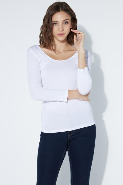 3/4-Sleeve V-Neck Top with Ties