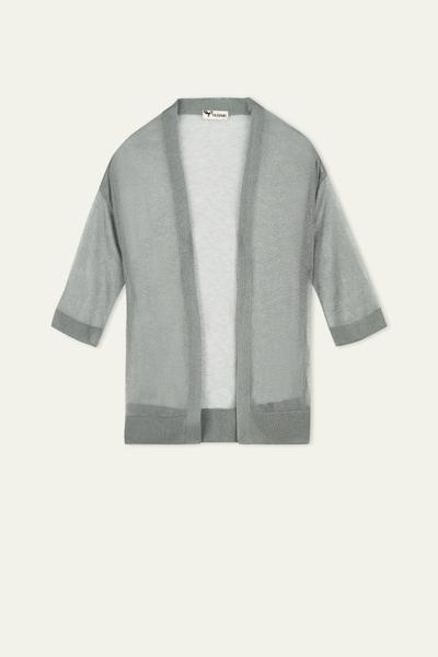 3/4 Sleeve Ultralight Lurex Cardigan