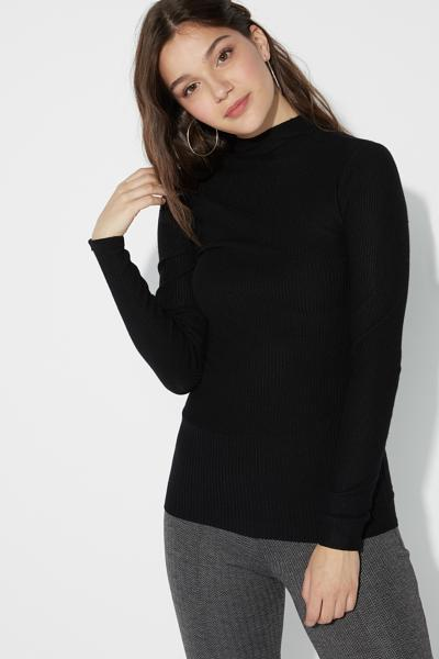 Ribbed Cowl Neck Shirt