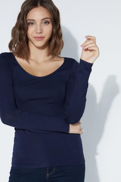 Long-Sleeve Scoop-Neck Viscose Top