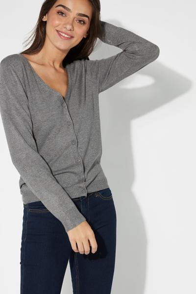 Basic Long-Sleeved V-Neck Cardigan