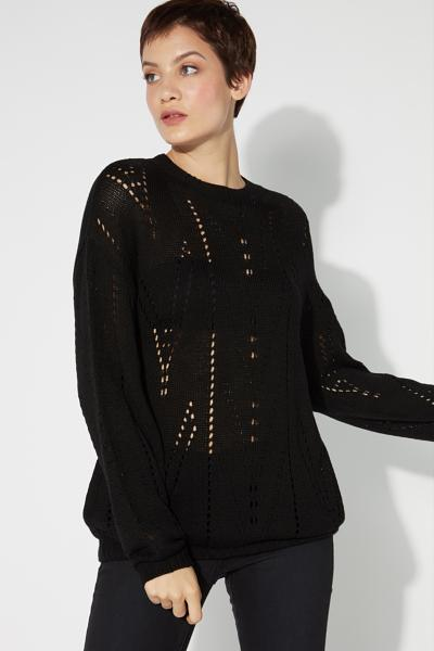 Long-Sleeved Openwork Top