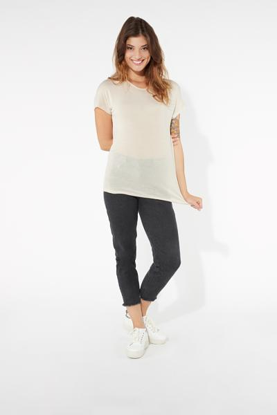Viscose and Silk Short Sleeve Knit Top