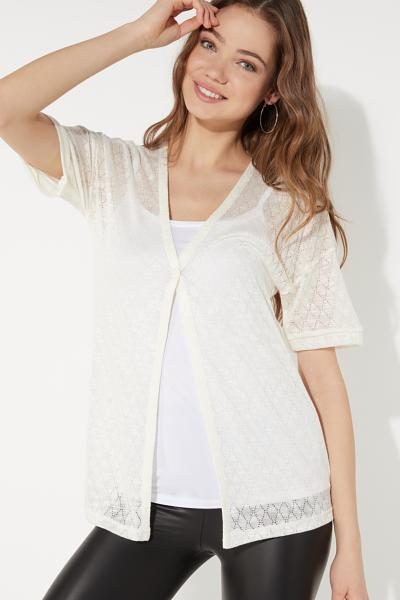 Short Sleeve Cardigan in Diamond Pattern Light Jersey