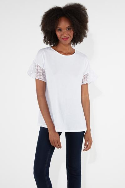 Short-Sleeve Top with Lace Yoke Detail