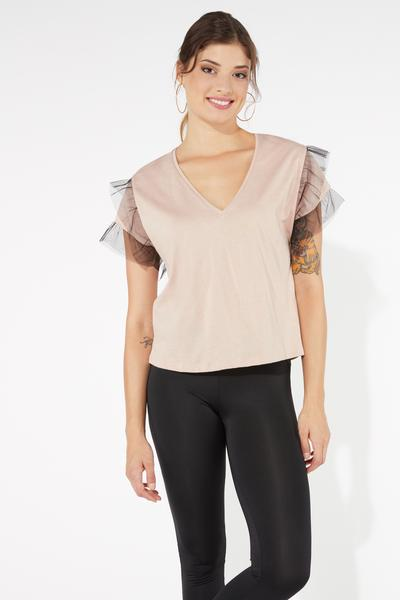 Short-Sleeve Top with Tulle Ruffle Details