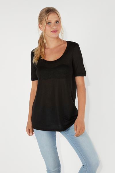 Basic Kurzarm-Shirt aus Leinen