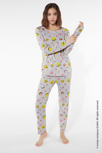 Long All-Over Emoji Pyjamas