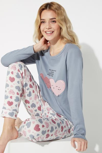 Long Heart Print Pyjamas