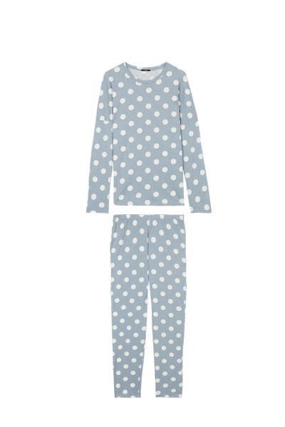 Langer Pyjama mit Big Pois-Print