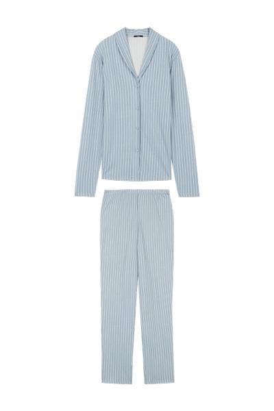 Langer Nadelstreifen-Pyjama mit durchgeknöpftem Oberteil