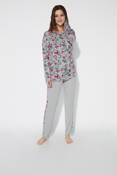 Pyjama Long en Viscose et Col Rond