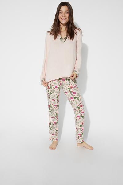 Long V-Neck Viscose Pyjamas
