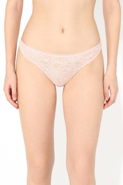 Raw-Edge Brazilian Panties in Microfibre and Lace