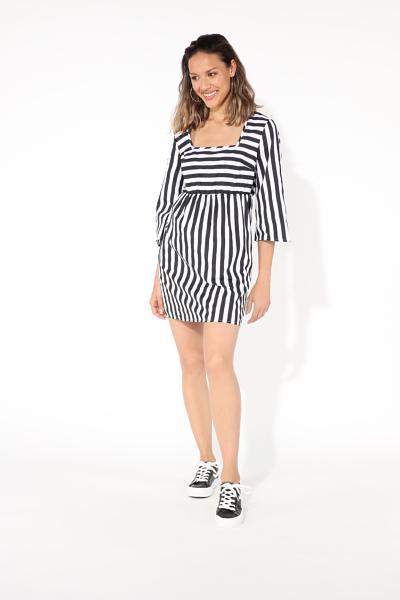 3/4 Length Sleeve Short Square Neckline Dress