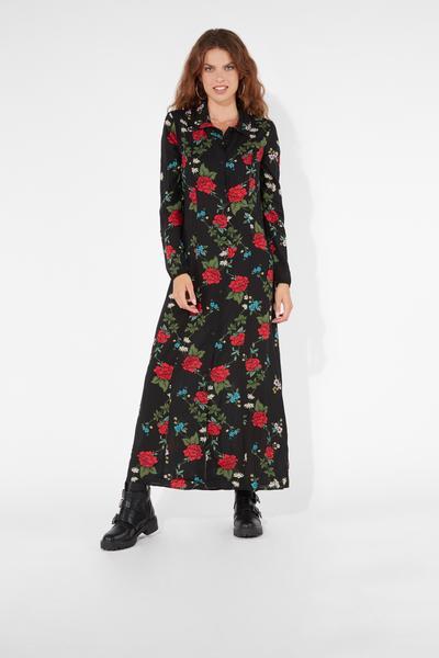 Long-Sleeved Canvas Dress