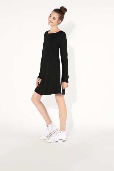Long-Sleeved Milano-Stitch Dress With Side Bands