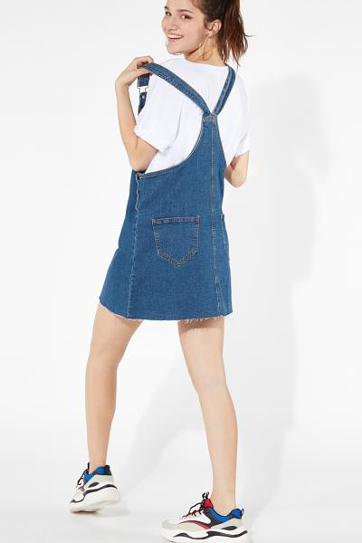 Short Suspenders Denim Dress