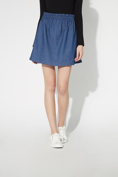 Short Denim-Effect Canvas Skirt