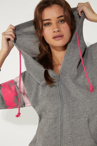 Hoodie Sweatshirt with Printed Bands