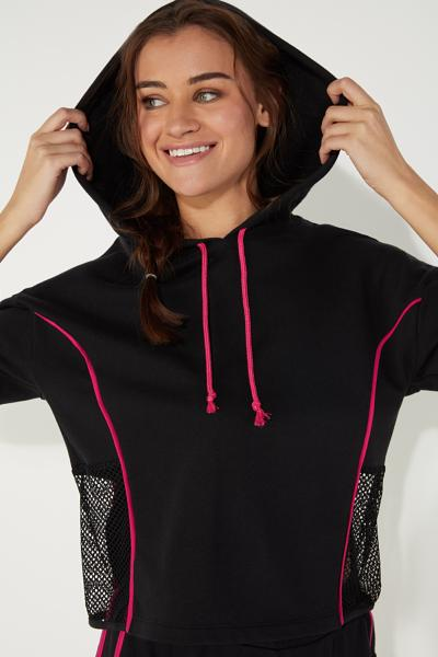 3/4 Length Sleeve Sport Sweatshirt with Mesh Inserts