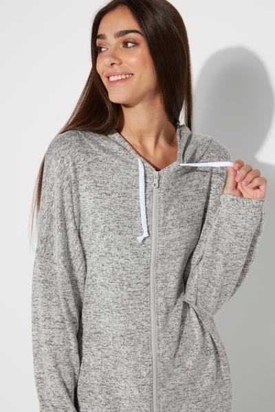 Long-Sleeved Hooded Loungewear Sweatshirt With Zip Detail