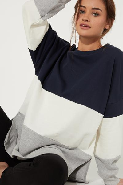 Oversized Color Block Sweatshirt