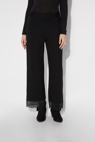 Milano-Stitch Cropped Trousers With Lace Trim